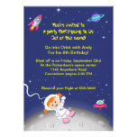 Space Theme Girls Birthday Personalized Announcements