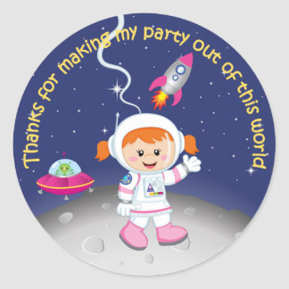 Space Theme Girls Birthday Thank You Classic Round Sticker