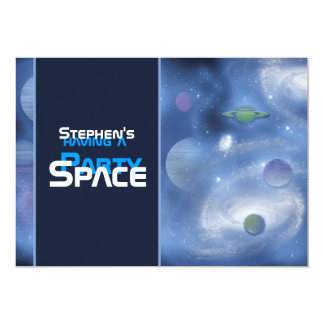 Space theme party invitations - customize template