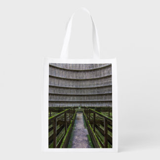 Space Themed, A Strange Structure Made Of Wood Cov Reusable Grocery Bag