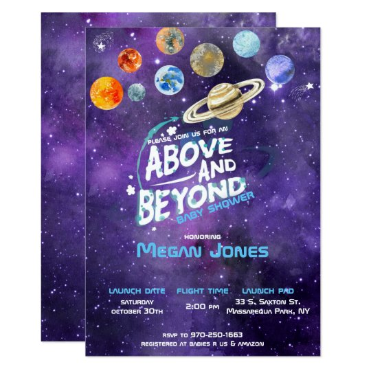 Space Themed Baby Shower Invitation Zazzlecom