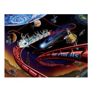Space Thrills Roller Coaster Postcard