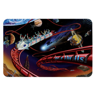 Space Thrills Roller Coaster Rectangle Magnets