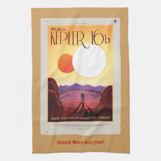 Space tourism ad: Relax on Kepler 16b vacation Towel