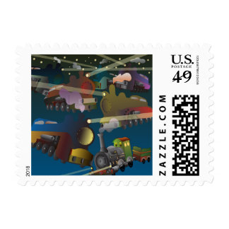 Space Trains Postage Stamp