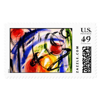 Space Travel Abstract Painting Stamp
