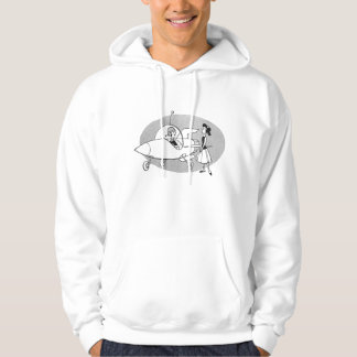 Space Travel for Gals Vintage Ad Hooded Pullover