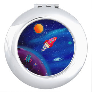 Space Travel / Kids Round Compact Mirror