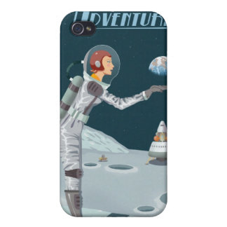 Space travel poster to the moon iPhone 4 cases