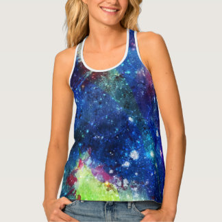Space traveller watercolor spatial galaxy painting tank top