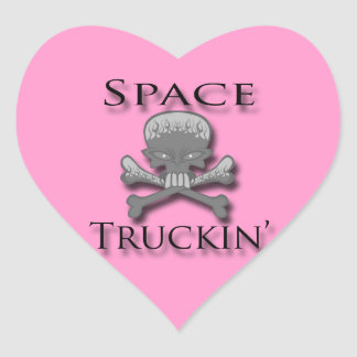Space Truckin' blk Heart Sticker