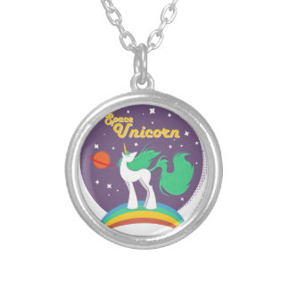 Space Unicorn Silver Plated Necklace