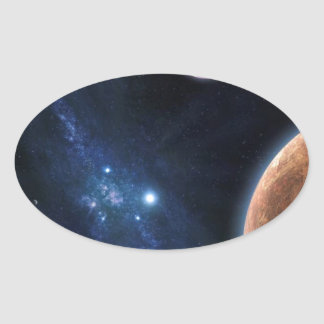 Space Universe Oval Sticker