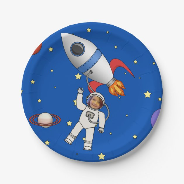 Space Walk Astronaut and Rocketship Photo Template Paper Plate | Zazzle.com  sc 1 st  Zazzle & Space Walk Astronaut and Rocketship Photo Template Paper Plate ...