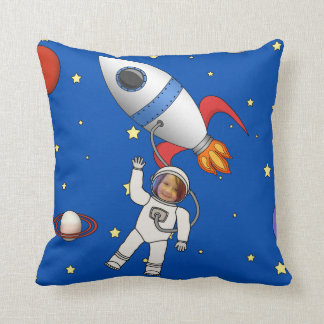 Space Walk Astronaut and Rocketship Photo Template Pillow