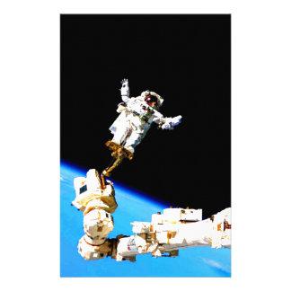 space walk astronaut international space station stationery design