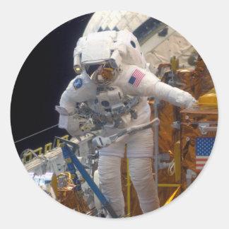 Space walk classic round sticker