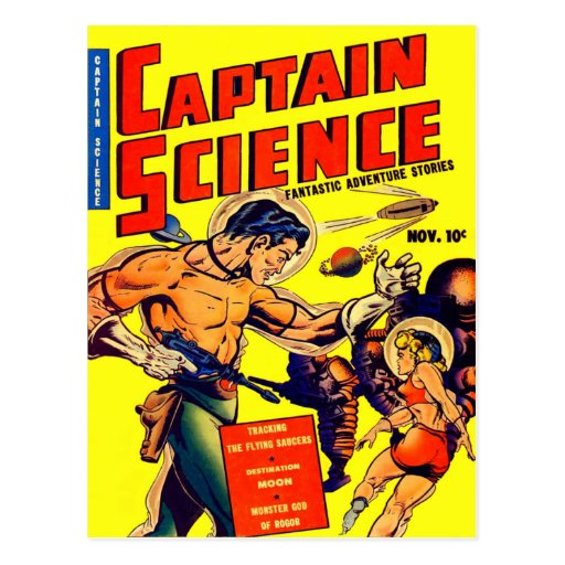 Space Warrior Vintage Science Fiction Comic Post Card