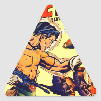Space Warrior Vintage Science Fiction Comic Triangle Sticker