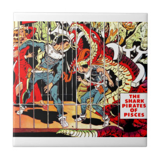 Space Warriors Fight Alien Science Fiction Small Square Tile