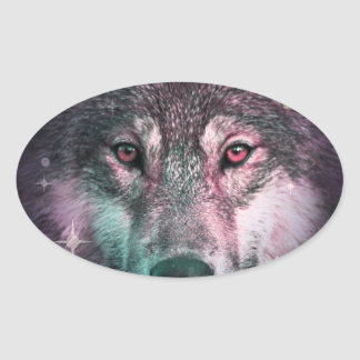 Space Wars Wolf Face Oval Sticker