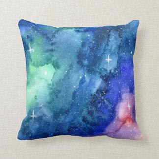 Space Watercolor Art Pillow