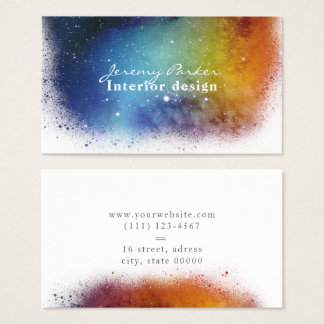 Space Watercolor Splash Business Card