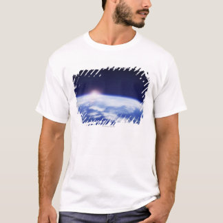 Space with rising sun above planet earth T-Shirt