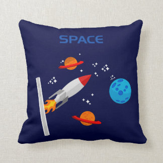 Space with rocket throw pillow