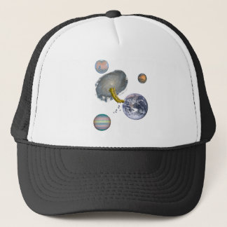 Space Worm Eating Earth Trucker Hat
