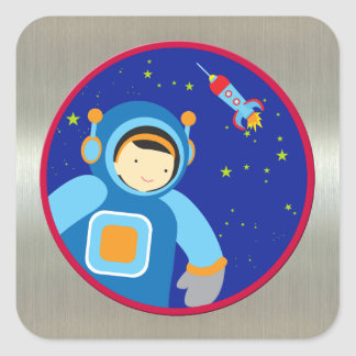 Spaceboy Floating Outside the Spaceship Square Stickers