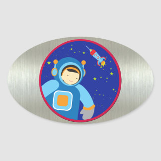 Spaceboy Floating Outside the Spaceship Oval Stickers