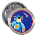 Spaceboy que flota fuera de la nave espacial pin