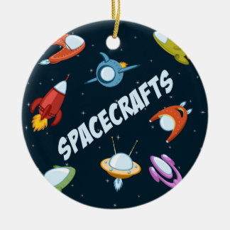 Spacecraft and rockets ceramic ornament