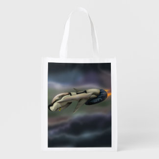Spacecraft flying through a planet reusable grocery bag
