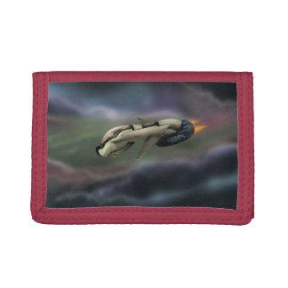 Spacecraft flying through a planet tri-fold wallet