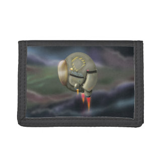 Spacecraft flying through a planet tri-fold wallets