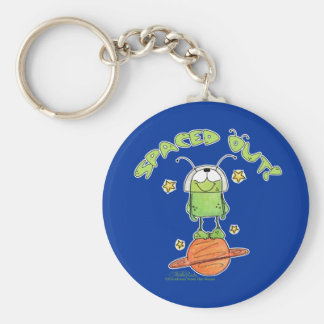 Spaced Out Alien Basic Round Button Keychain