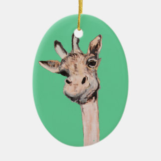 """""""Spaced-Out Giraffe"""" Oval Ornament"""