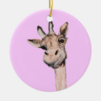 """""""Spaced-Out Giraffe"""" Pink Circle Ornament"""