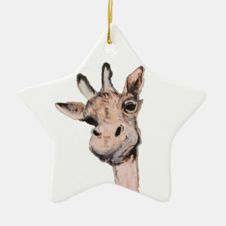 """Spaced-Out Giraffe"" Star Ornament"