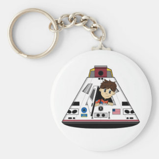 Spaceman and Capsule Magnet Keychain