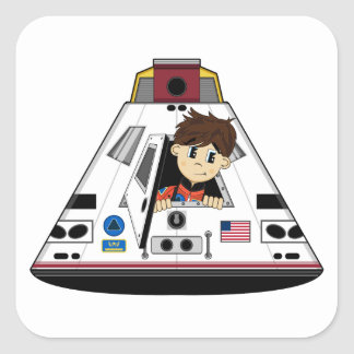 Spaceman and Capsule Sticker