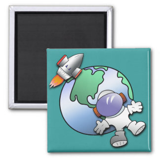 Spaceman and Planet Earth 2 Inch Square Magnet
