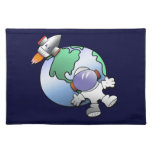 Spaceman and Planet Earth Cloth Placemat