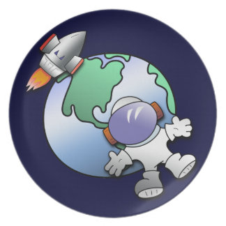 Spaceman and Planet Earth Dinner Plate