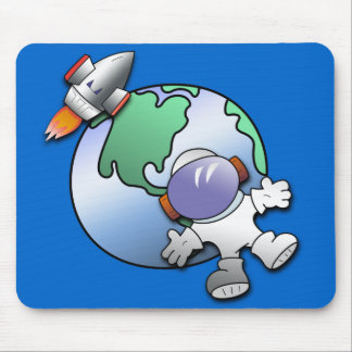 Spaceman and Planet Earth Mouse Pad