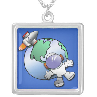 Spaceman and Planet Earth Silver Plated Necklace