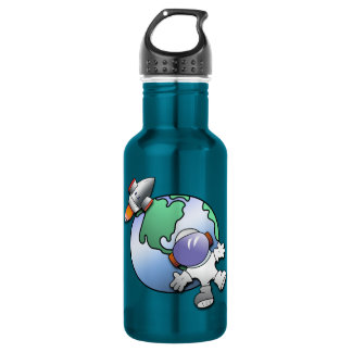 Spaceman and Planet Earth Stainless Steel Water Bottle