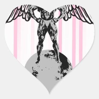 spaceman angel bodybuilder heart sticker